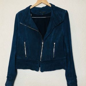 {WHBM} leather navy blue fitted jacket L